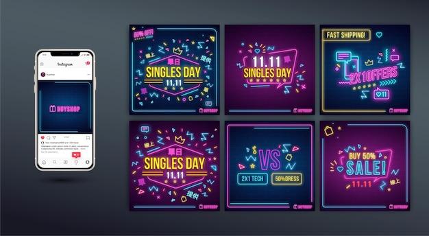 Collection de publications instagram au néon pour la journée des célibataires