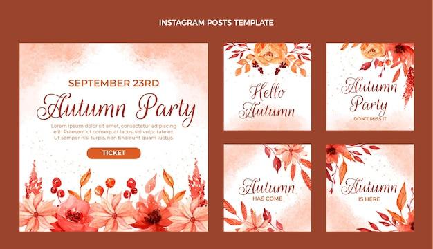 Collection de publications instagram automne aquarelle