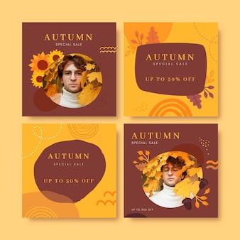 Collection de publications instagram d'automne dessinées à la main avec photo