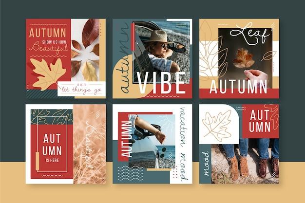 Collection de publications instagram d'automne avec photo