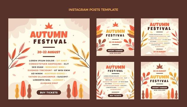Collection de publications instagram d'automne plat