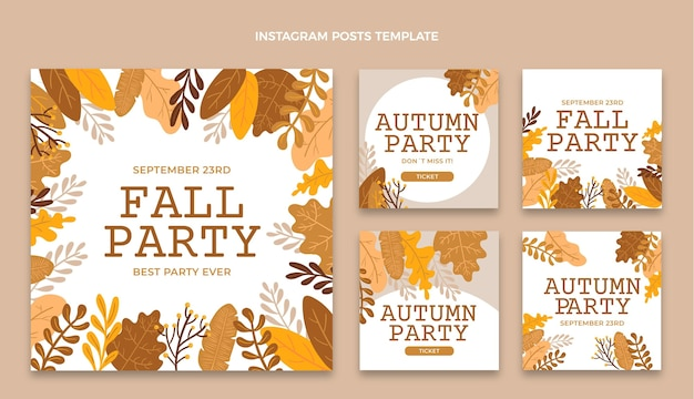 Collection de publications instagram d'automne