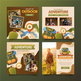Collection De Publications Instagram D'aventure Dégradée Avec Photo Vecteur gratuit
