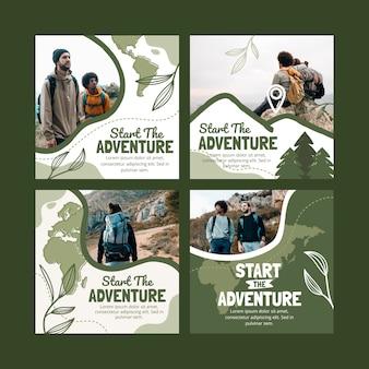 Collection de publications instagram d'aventure dessinées à la main avec photo