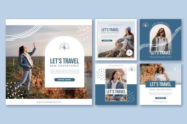 Collection de publications instagram d'aventure avec photo
