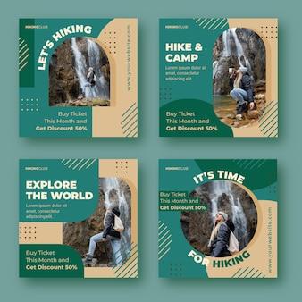 Collection de publications instagram d'aventure plate avec photo