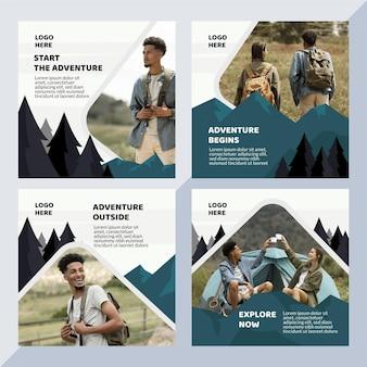 Collection de publications instagram d'aventure
