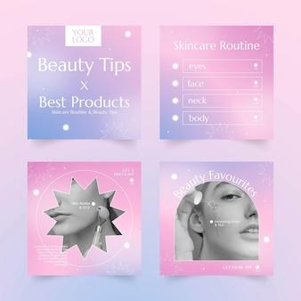 Collection de publications instagram de beauté dégradée