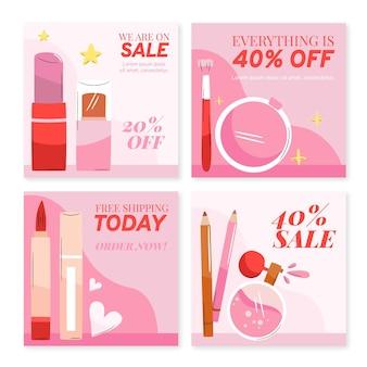 Collection de publications instagram beauté dessinés à la main
