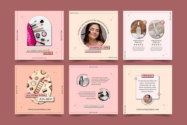 Collection de publications instagram de beauté plate linéaire