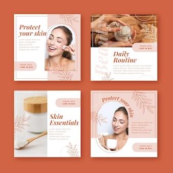 Collection De Publications Instagram De Beauté Plate Vecteur gratuit