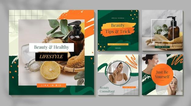 Collection de publications instagram beauté plate