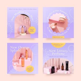 Collection de publications instagram beauté style dégradé