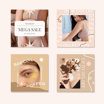 Collection de publications instagram boho avec photo
