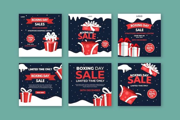 Collection De Publications Instagram De Boxe Day Vecteur gratuit