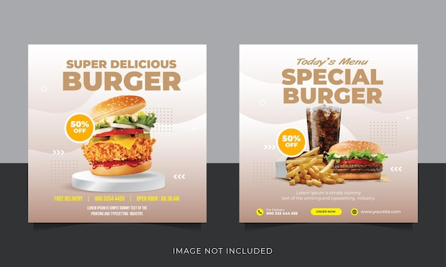 Collection de publications instagram burger