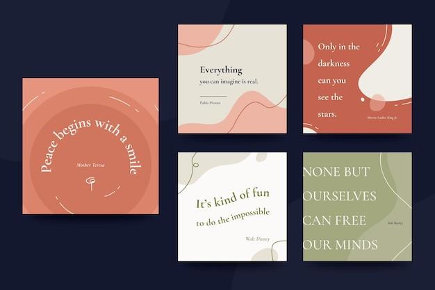 Collection de publications instagram de citations inspirantes plates organiques