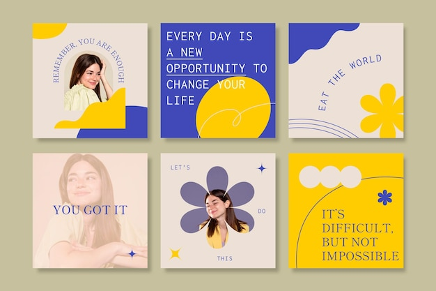 Collection de publications instagram de citations inspirantes plates organiques
