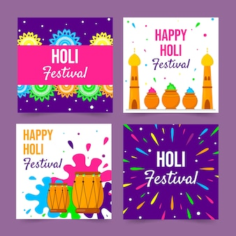 Collection de publications instagram avec le concept du festival holi