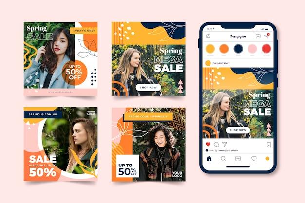 Collection de publications instagram avec concept de vente de printemps