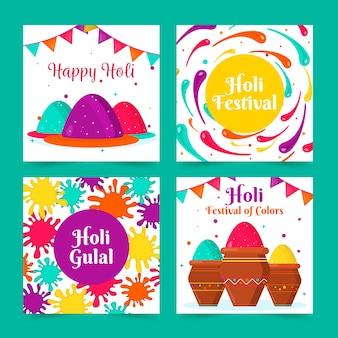 Collection de publications instagram avec la conception du festival holi