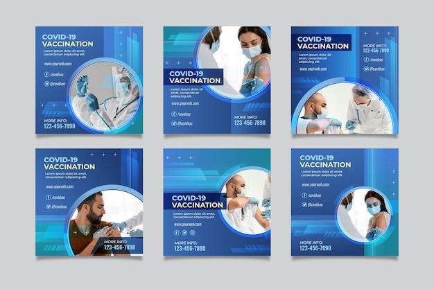 Collection de publications instagram sur le coronavirus dégradé