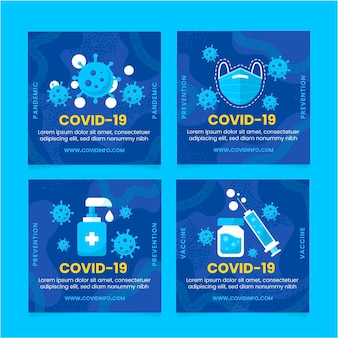 Collection de publications instagram sur le coronavirus plat organique
