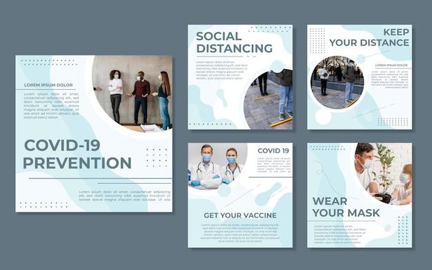 Collection de publications instagram sur le coronavirus plat organique