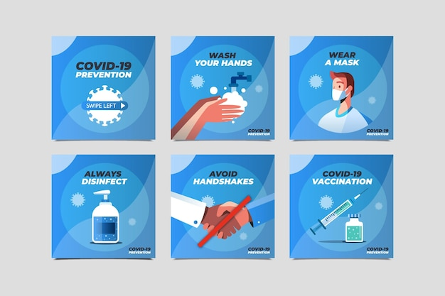 Collection de publications instagram de coronavirus plat