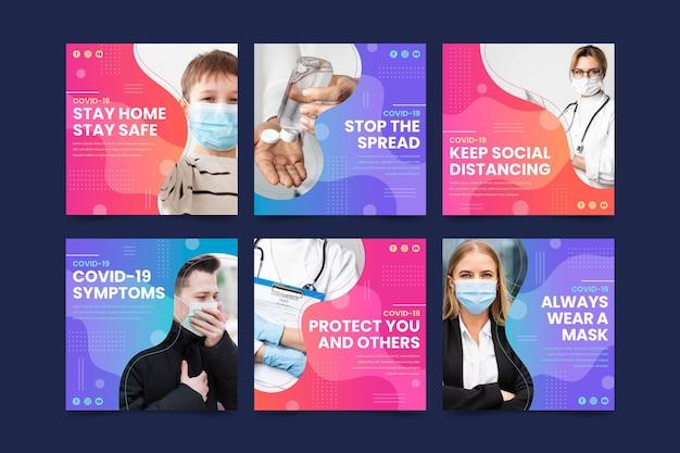 Collection de publications instagram sur le coronavirus