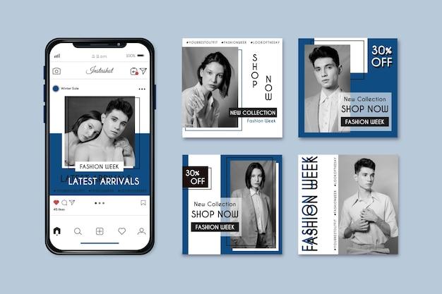 Collection de publications instagram sur la couleur bleue classique