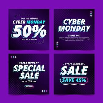 Collection de publications instagram dégradées sur le cyber lundi