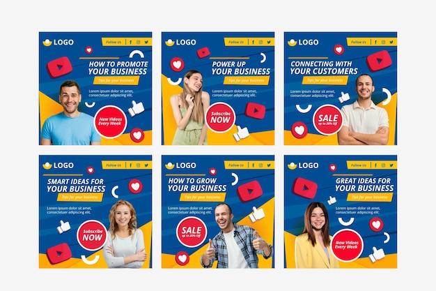Collection de publications instagram design plat avec photo