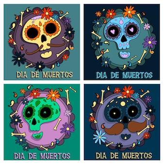 Collection de publications instagram de dia de muertos