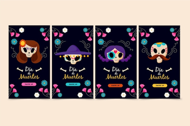 Collection de publications instagram día de muertos