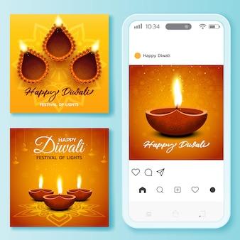 Collection de publications instagram du festival de diwali
