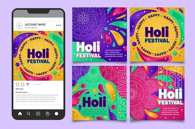 Collection de publications instagram du festival holi