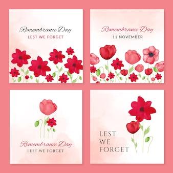Collection de publications instagram du jour du souvenir à l'aquarelle