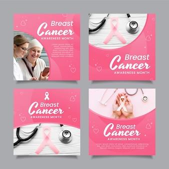 Collection de publications instagram du mois de sensibilisation au cancer du sein dégradé avec photo
