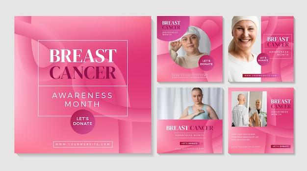 Collection de publications instagram du mois de sensibilisation au cancer du sein dégradé