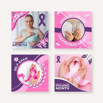 Collection de publications instagram du mois de sensibilisation au cancer du sein plat dessiné à la main avec photo