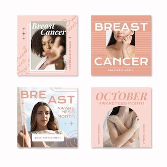Collection de publications instagram du mois de sensibilisation au cancer du sein plat avec photo