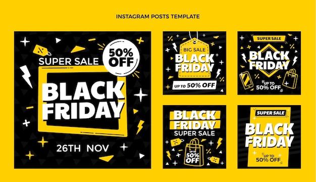 Collection de publications instagram du vendredi noir plat dessiné à la main