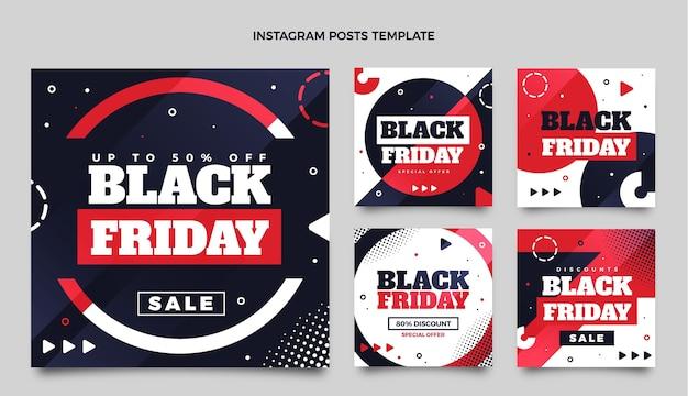 Collection de publications instagram du vendredi noir plat