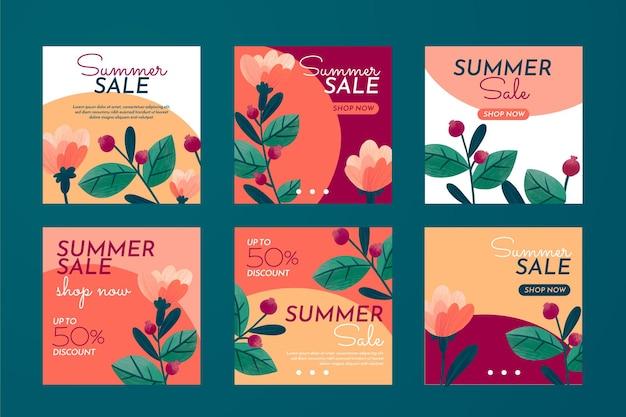 Collection de publications instagram d'été dessinées à la main