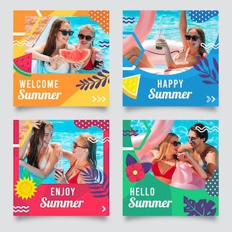 Collection de publications instagram d'été plat avec photo