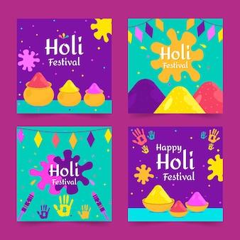 Collection de publications sur instagram avec un événement du festival de holi
