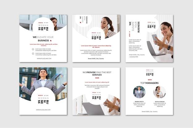 Collection De Publications Instagram De Femme D'affaires Vecteur gratuit