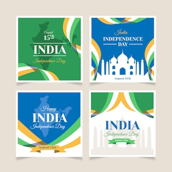 Collection de publications instagram de la fête de l'indépendance de l'inde