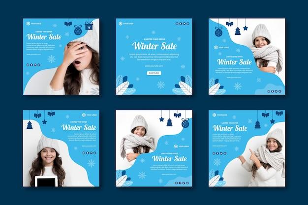 Collection de publications instagram d'hiver